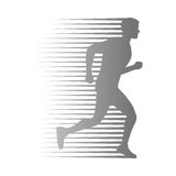Silhouette of Isolated Man Run with Moving Lines Royalty Free Stock Images