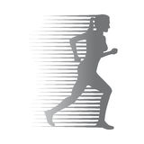 Silhouette of Isolated Running Woman on White Royalty Free Stock Photo