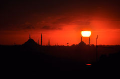 Silhouette of istanbul. The silhouette of istanbul and mosques with back lighting of sun Stock Images