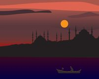 Silhouette of istanbul Stock Photo