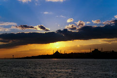 Silhouette of Istanbul. With Hagia Sophia and Blue mosque Stock Image