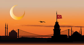 Silhouette of Istanbul at sunset royalty free illustration