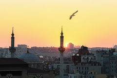 Silhouette of Istanbul at sunset Royalty Free Stock Image