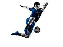 Silhouette italienne d'homme de footballeur images libres de droits