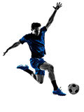 Silhouette italienne d'homme de footballeur Photo stock