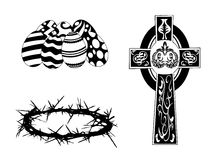 Silhouette items for easter day Stock Image