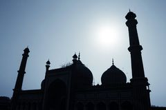 Silhouette of Jama Masjid mosque in Old Delhi Stock Photo
