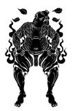 Silhouette Japanese Samurai. With leaf and dragon tattoo full body.Hand drawn Traditional Japanese men vector Stock Image