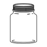 Silhouette jar of jam with lid Stock Photo