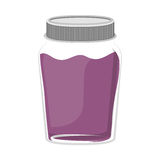 Silhouette jar of purple jam with lid Royalty Free Stock Photography