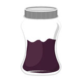 Silhouette jar of violet jam with lid Stock Photography