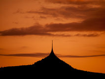 Silhouette of Jested mountain in the evening Stock Images