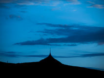 Silhouette of Jested mountain in the evening Royalty Free Stock Photography