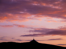 Silhouette of Jested mountain in the evening Stock Image