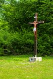 Silhouette of Jesus christ crucifix cross on heaven sunset concept - Christmas catholic religion, christian worship, happy Easter. Day, praying praise good stock photo