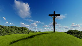 Silhouette of Jesus with Cross over blue sky, religious concept. Hd video stock illustration