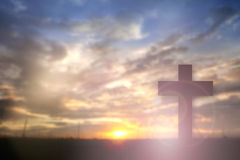Silhouette of Jesus with Cross over sunset concept for religion, Stock Images