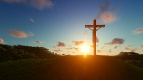 Silhouette of Jesus with Cross over sunset, religious concept stock video footage