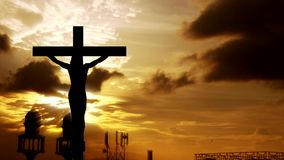 Silhouette Jesus on the cross 1. Silhouette Jesus on the cross and sunset vector illustration