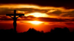 Silhouette Jesus on the cross 2. Silhouette Jesus on the cross and sunset royalty free illustration