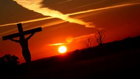 Silhouette Jesus on the cross 3. Silhouette Jesus on the cross and sunset stock illustration