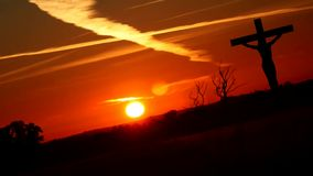 Silhouette Jesus on the cross 4. Silhouette Jesus on the cross and sunset vector illustration
