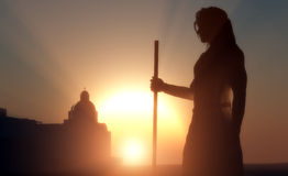 Silhouette of Jesus. In the sunlight Royalty Free Stock Photo
