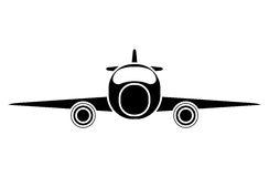 Silhouette jet airplane private transport front view. Vector illustration eps 10 Stock Photo