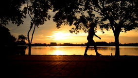 Silhouette Jogging evening stock footage