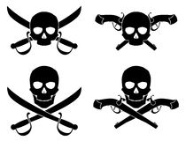 Silhouette of the Jolly Roger with crossed saber and pistol Royalty Free Stock Image
