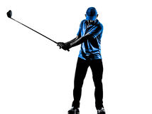 Silhouette jouante au golf d'oscillation de golf de golfeur d'homme Photo stock