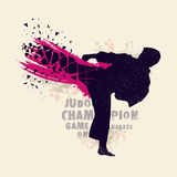 Silhouette of Judo Fighter for Sports concept. Creative silhouette of Judo Fighter on abstract background for Sports concept Stock Images