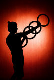 Silhouette of a juggler Royalty Free Stock Photos