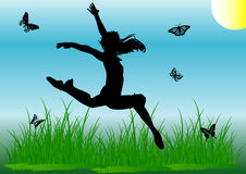 Silhouette jump girl Royalty Free Stock Photo