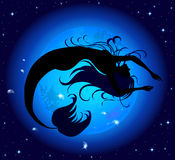 Silhouette jumped out of the water mermaid. On a background of blue mystic moon Stock Images
