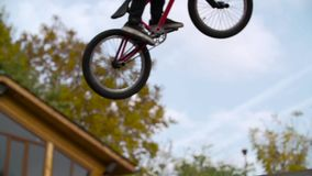 Silhouette of jumper, performing BMX mountain bike stock video