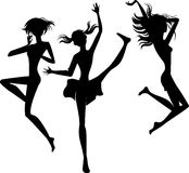 Silhouette jumping cheerful girls Royalty Free Stock Images