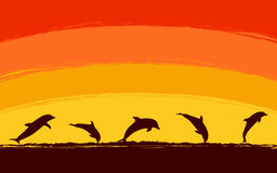 Silhouette jumping dolphin in ocean with sunset sky background vector illustration