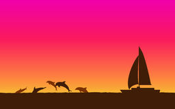 Silhouette jumping dolphin and sailboat in flat icon design with sunset sky background. Silhouette jumping dolphin and sailboat in flat icon design with sunset Stock Photo