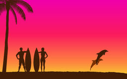 Silhouette jumping dolphin and surfer carrying surfboard on beach with sunset sky background. Silhouette jumping dolphin and surfer carrying surfboard on beach Royalty Free Stock Photos