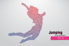 Silhouette of a jumping girl from triangles. Text and background on a separate layer, color can be changed in one click Royalty Free Stock Photography