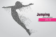 Silhouette of a jumping girl from triangles. Stock Photo