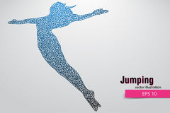 Silhouette of a jumping girl from triangles. Text and background on a separate layer, color can be changed in one click Royalty Free Stock Image
