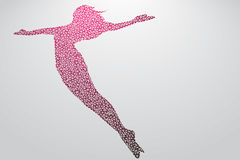 Silhouette of a jumping girl from triangles. Text and background on a separate layer, color can be changed in one click Royalty Free Stock Photos
