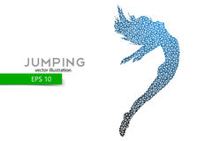 Silhouette of a jumping girl from triangles. Text and background on a separate layer, color can be changed in one click Royalty Free Stock Photo