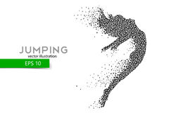 Silhouette of a jumping girl from triangles. Text and background on a separate layer, color can be changed in one click Stock Photo