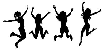 Silhouette of jumping girls Royalty Free Stock Image