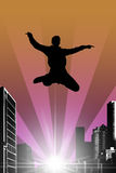 Silhouette of a jumping man Royalty Free Stock Photo