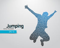 Silhouette of a jumping man from triangles. Text and background on a separate layer, color can be changed in one click Royalty Free Stock Photo