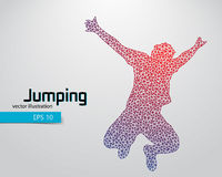 Silhouette of a jumping man from triangles. Text and background on a separate layer, color can be changed in one click Royalty Free Stock Image
